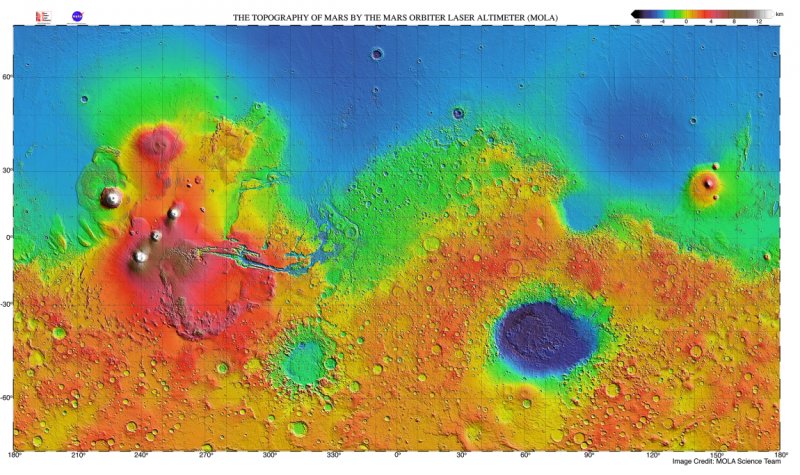 Topography of Mars by the Mars Orbiter Laser Altimeter